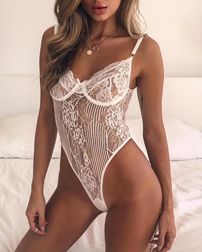 Crcohet Lace Hollow Out Backless Teddy