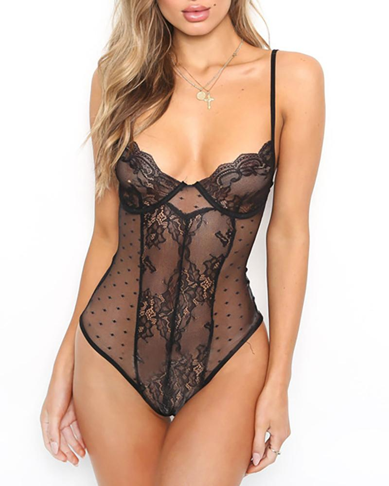 Lace Insert Dots Mesh Teddy