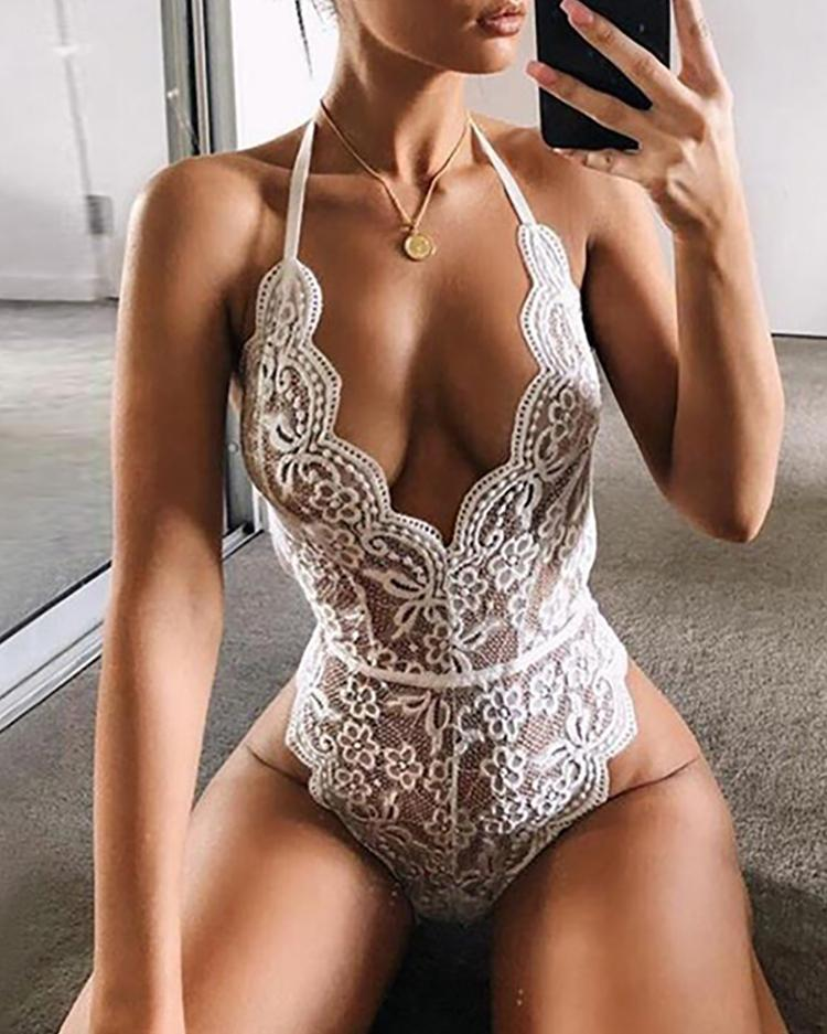 Crochet Lace Sheer Mesh One Shoulder Teddy