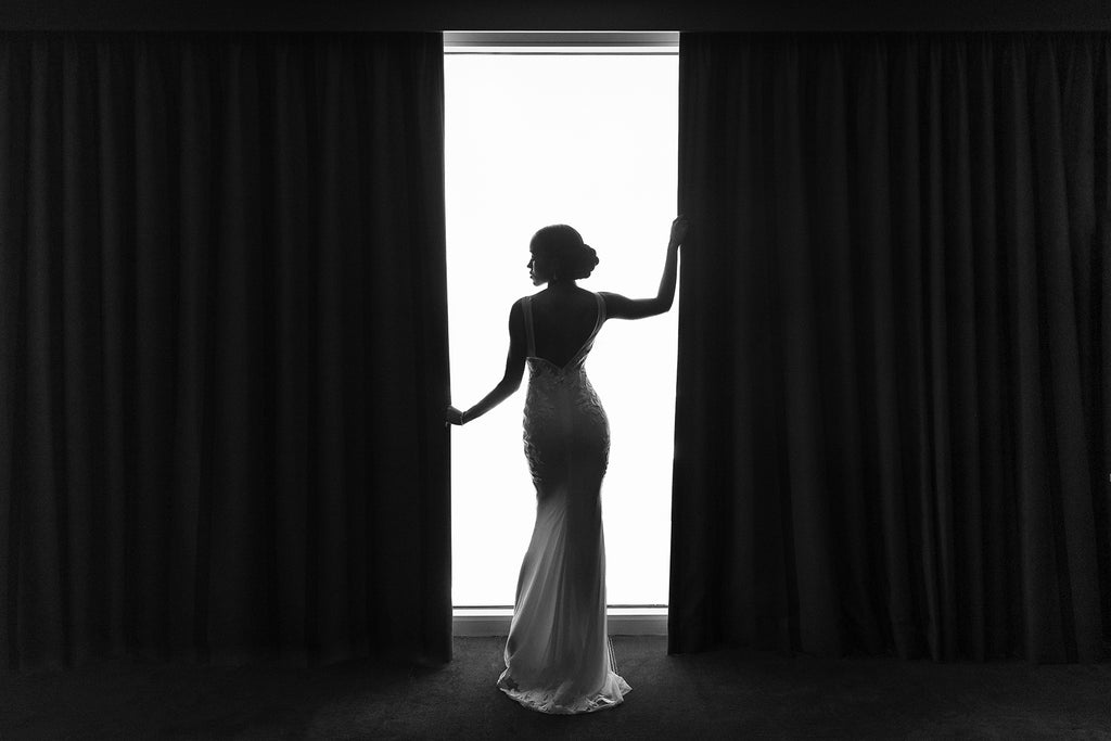 Andre Brown Photography black and white bridal image silouette