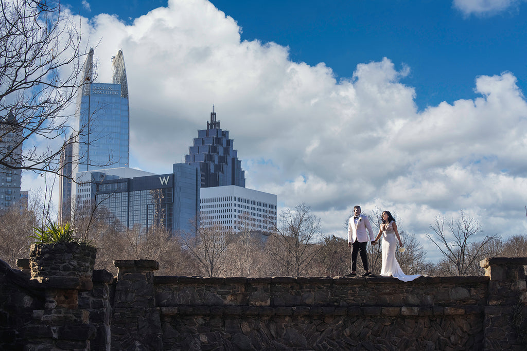 Andre Brown Photography couple with city skyline