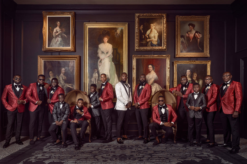 Andre Brown Photography groomsmen in library with paintings