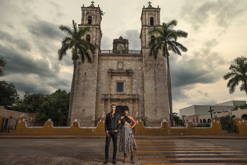 Andre Brown Photography engagement photo in front of old mission