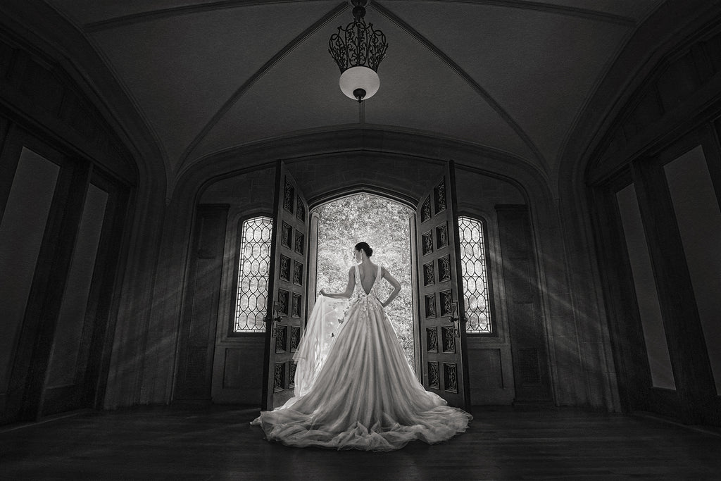 Andre Brown Photography black and white bridal image