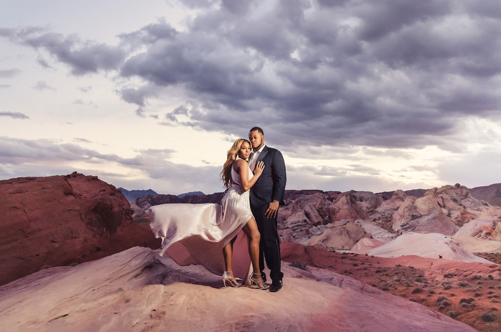 Andre Brown Photography Black Husband and wife on red rocks