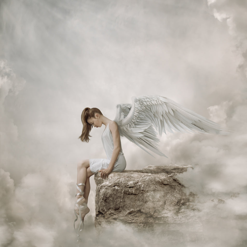 Alana Lee portrait of girl with white angel wings ballerina pointe shoes white clouds brown hair sitting on rock ledge