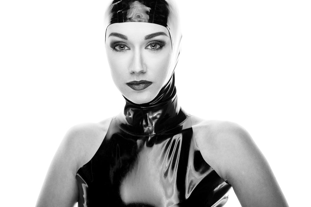 Cliff Lenderman photograph of woman black and white swim cap shiny black outfit