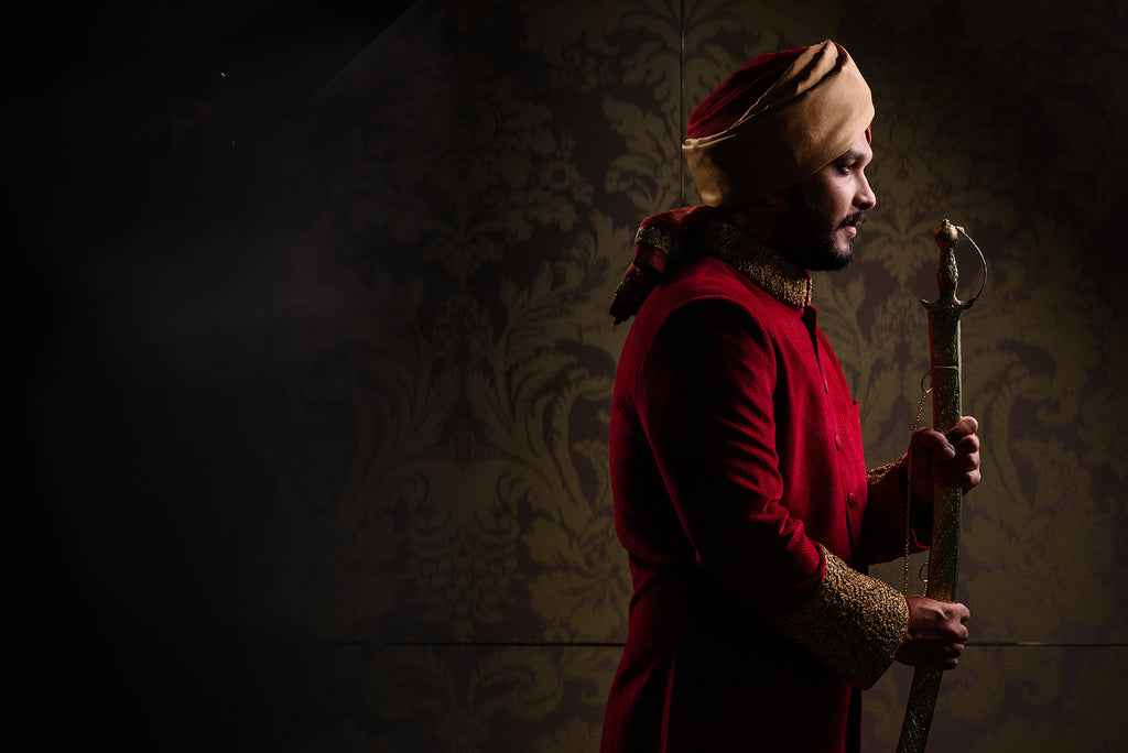Erum Rizvi portrait of man of groom in traditional Sikh wedding attire
