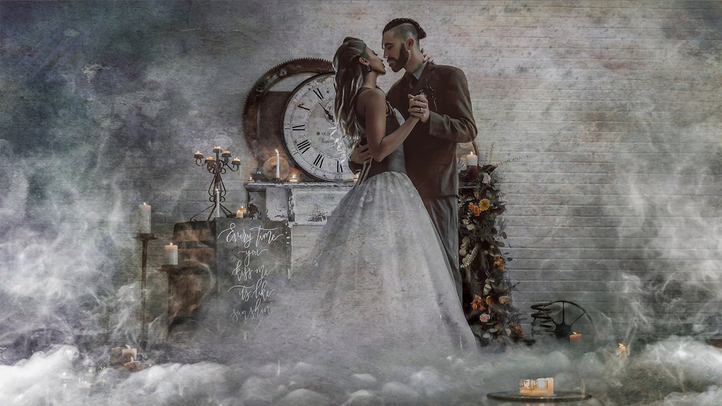 Eyenamics photo of man and woman dancing in clouds with a large roman numeral clock