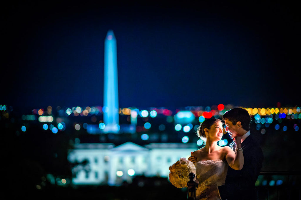 Greg Gibson bride and groom White House Washington Monument at night