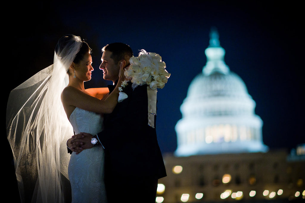 Greg Gibson bride and groom at night United States Capitol