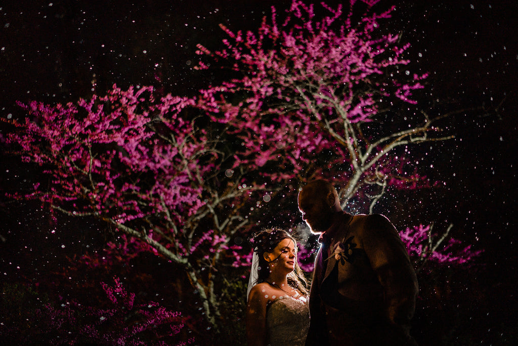 Jason Vinson bride and groom night light through raindrops pink flowers on trees