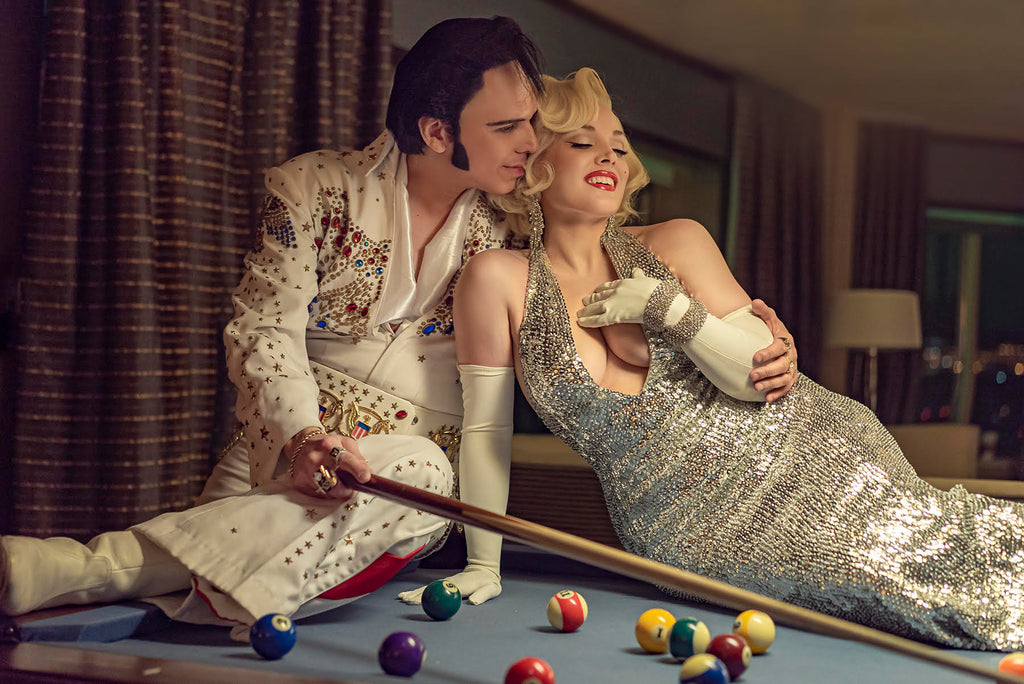Jeremy Chan portrait of Elvis and Marylin Monroe impersonators on pool table billiards table Elvis holding stick