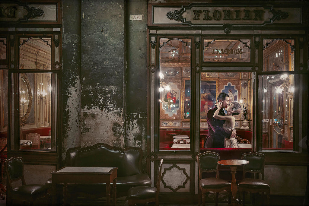 Jeremy Chan portrait of man and woman kissing in tea room vintage