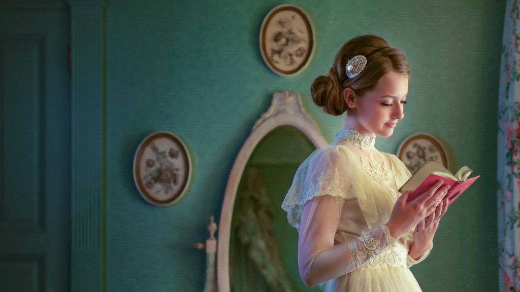 Jeremy Chan portrait of woman in white dress in green room reading book oval mirror red hair