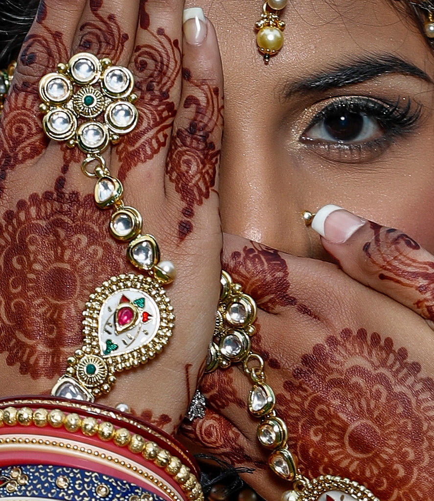 Keith Cephus close up portrait of Indian bride henna jewelry