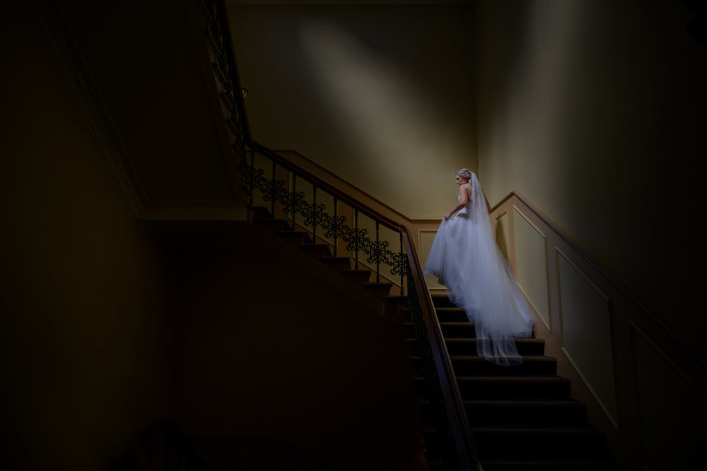 Marcus_Bell_Bride ascending staircase dramatic lighting