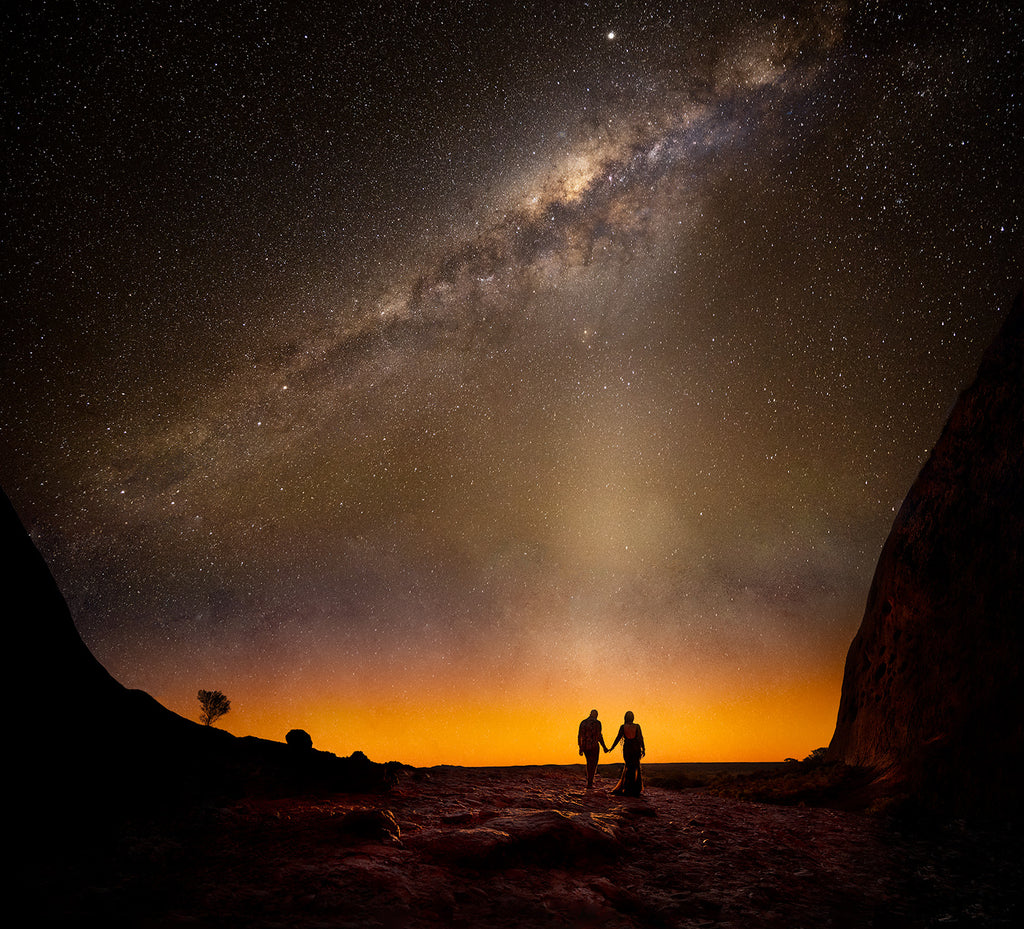 Marcus_Bell_Couple walking hand in hand into sunset and Milky Way stars