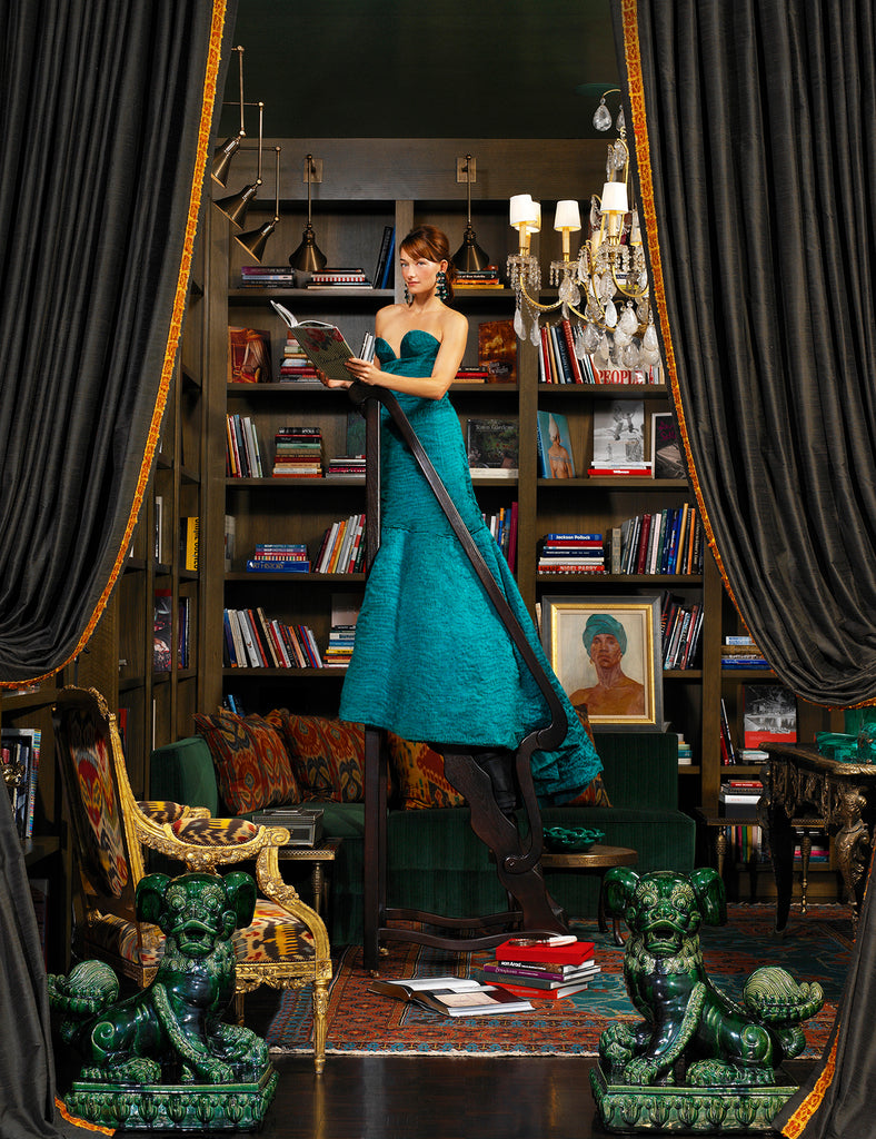 Mark Edward Harris woman in green dress in Beverly Hills Library jade lion sculptures books drapes