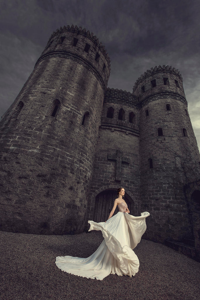 Yuliya Panchenko bride gown in front of castle
