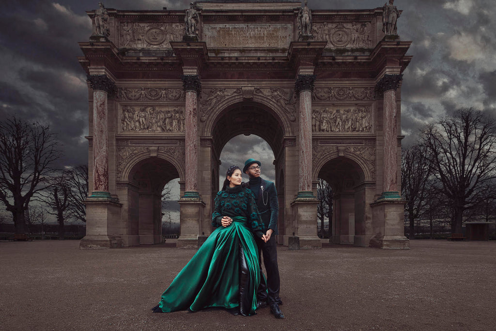 Yuliya Panchenko couple in front of historical archway building