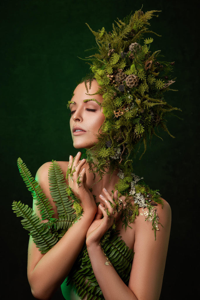 Yuliya Panchenko model with ferns green floral arrangement