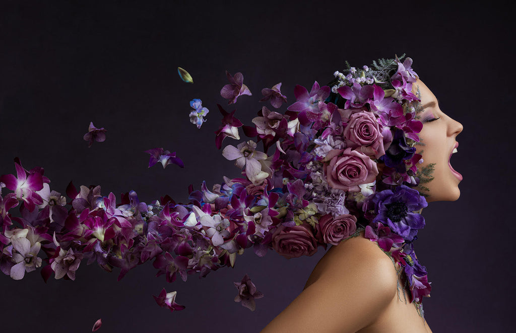 Yuliya Panchenko model with purple flower headdress screaming