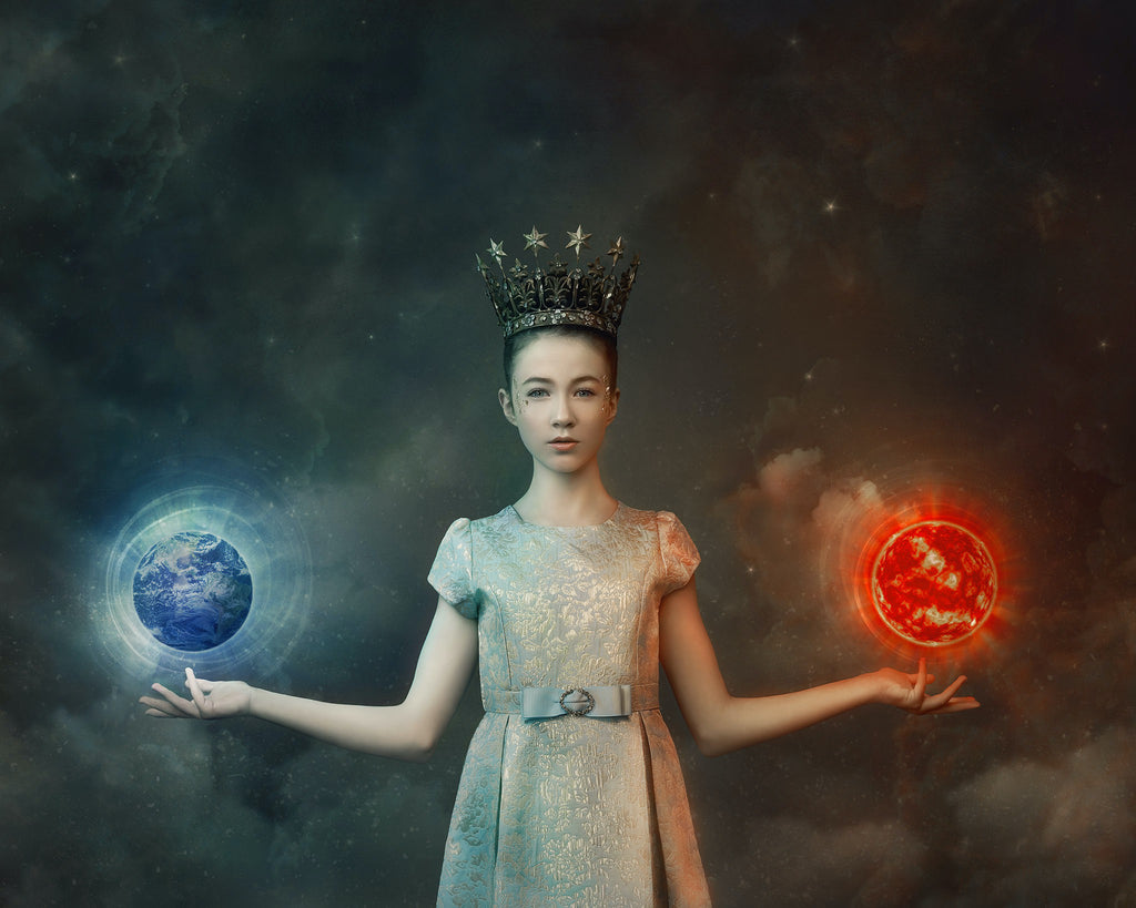 Alana Lee portrait of girl with crown holding earth in hand holding sun in hand wearing dress with belt