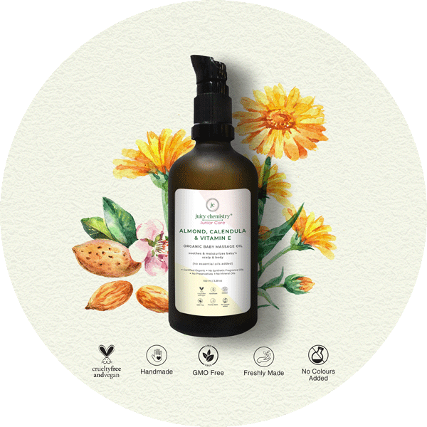 Almond, Calendula & Vitamin E Baby Massage Oil - juicychemistry