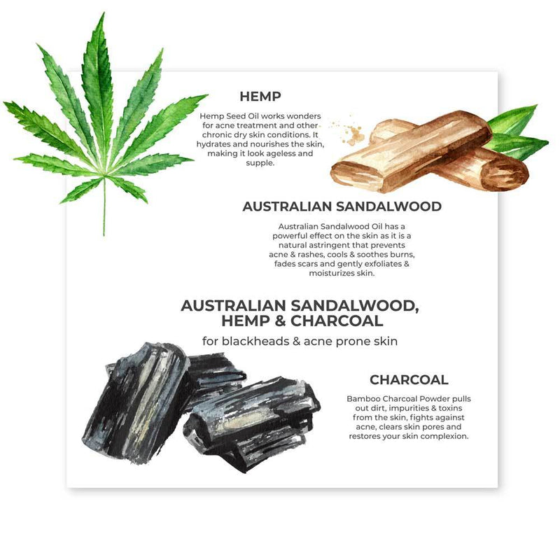 Australian Sandalwood, Hemp & Charcoal Organic Cold Pressed Soap - juicychemistry