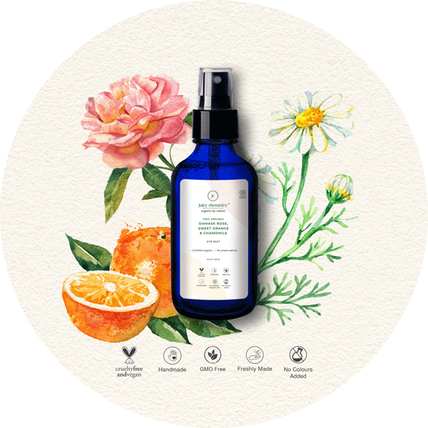 Damask Rose, Sweet Orange & Chamomile Eye Mist - juicychemistry