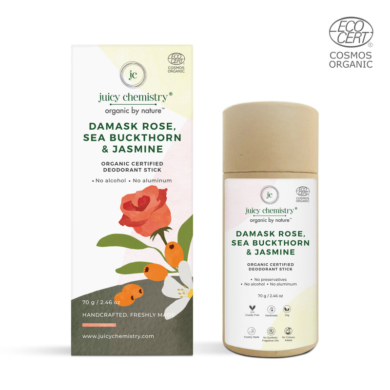 Damask Rose , Sea Buckthorn & Jasmine Deodorant Stick - juicychemistry