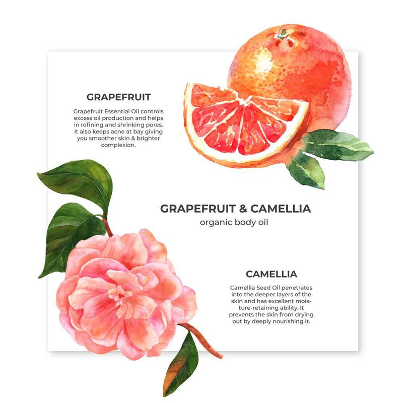 Grapefruit & Camellia Body Oil Organic Hydrating Body Oil - juicychemistry