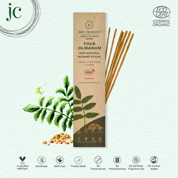 Four Olibanum Hand-rolled Incense Sticks - juicychemistry