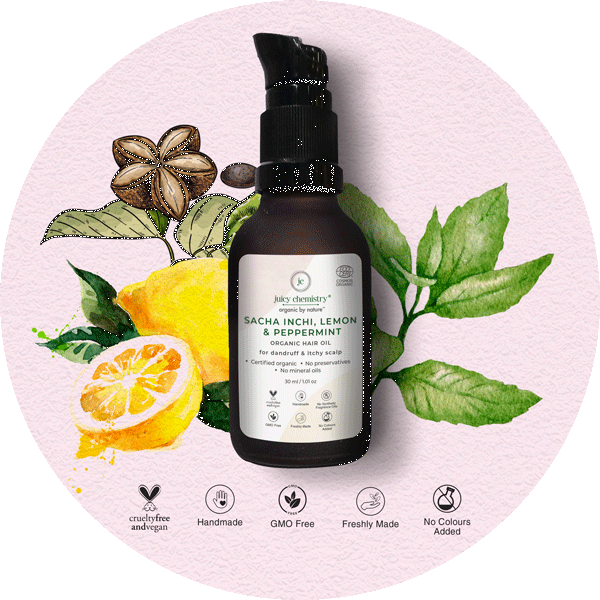 Sacha Inchi, Lemon & Peppermint Organic Hair Oil - juicychemistry