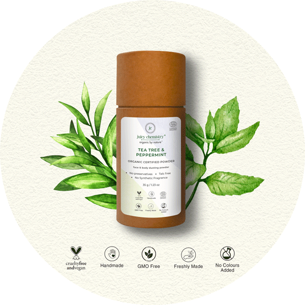 Tea Tree & Peppermint Organic Dusting Powder - juicychemistry