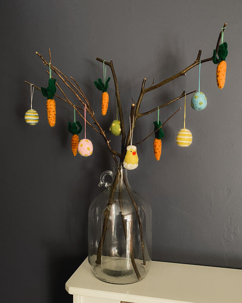DIY tree make from twigs to hang seasonal decorations on