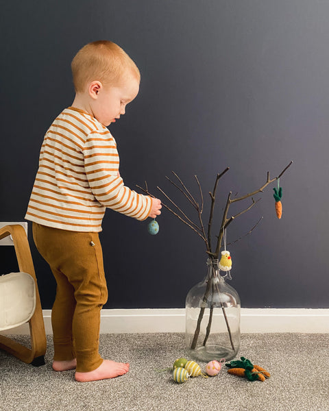 Hang your felt decorations on to your twig tree