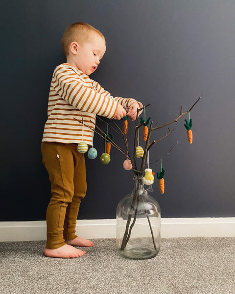 Hang your felt decorations on your twig tree