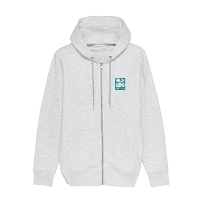 Melon Bomb Embroidered Square Logo Unisex Iconic Zip-through Hoodie-My Essential