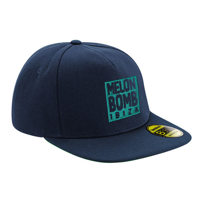 Melon Bomb Embroidered Square Logo And Text Flat Peak Snapback Cap-My Essential