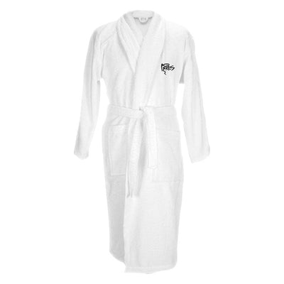 Pikes Ibiza Black Embroidered Logo Cotton Robe With Shawl Collar-My Essential