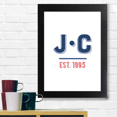 Jockey Club EST 1993 Navy And Red Text A3 and A4 Prints (framed or unframed)-My Essential