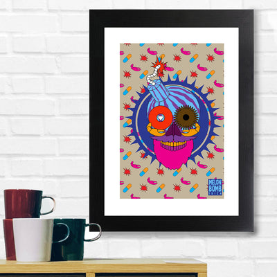 Melon Bomb Head With Background Pattern A3 Framed Print-My Essential