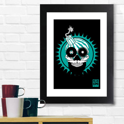 Melon Bomb Green And Black Head A3 Framed Print-My Essential
