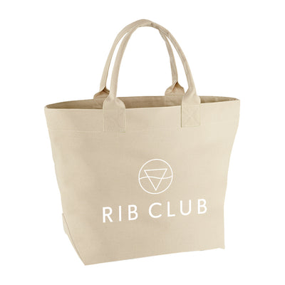 Rib Club White Logo Canvas Beach Bag-My Essential