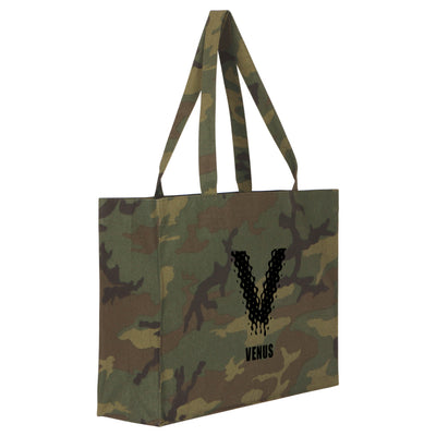 Venus Ibiza Black Logo Camouflage Large Woven Shopping Bag-My Essential