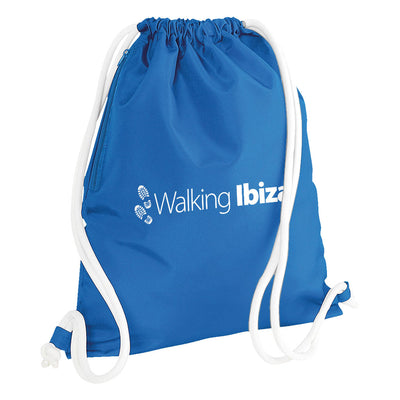 Walking Ibiza White Logo Icon Gymsac Drawstring Day Bag with Zip Pocket-My Essential