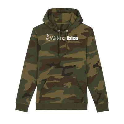 Walking Ibiza White Logo And Footprints Front And Back Print Camo Hooded Sweatshirt-My Essential