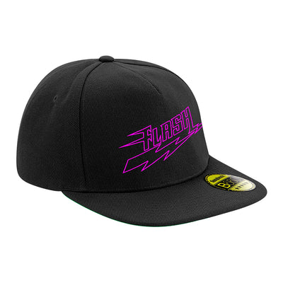 Flash Neon Pink Logo Flat Peak Snapback Cap-My Essential